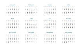 Calendar infographic, tabelldiagrammet, presentationsdiagram Affärsperiodbegrepp Uppgiftschef Vecka månad 2019 år Royaltyfri Foto