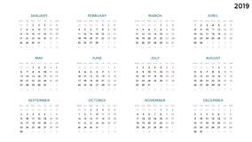 Calendar infographic, table chart, presentation chart. Business period concept. Task manager. Week, month. 2019 year. Circle arrows diagram for graph infographic Royalty Free Stock Image
