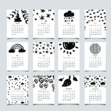 2017 calendar ink. 2017 monthly calendar with hand drawn decor. Black and white, made with ink Royalty Free Illustration