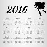 2016 Calendar with inkblot on white background. With week starting on Sunday. Vector illustration EPS10 Stock Photography