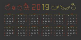 2019 Calendar. Vector illustration stock illustration