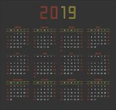 2019 Calendar. Vector illustration royalty free illustration