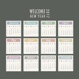 Calendar. Isolated calendar template design 2017 royalty free illustration