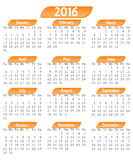 2016 Calendar. Isolated on white Stock Photo