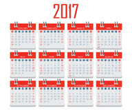 2017 Calendar on isolated on White Background. 27 Calendar icon on isolated on White Background, week start on sunday, Simple 27 year design vector illustration Royalty Free Stock Image