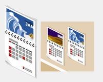 Calendar isométrico ilustração stock