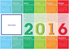 Calendar 2016 italian stripes. Calendar 2016 italian language with vertical coloured stripes Royalty Free Illustration