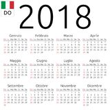 Calendar 2018, Italian, Sunday. Simple annual 2018 year wall calendar. Italian language. Week starts on Sunday. Sunday highlighted. No holidays highlighted. EPS Royalty Free Stock Photos