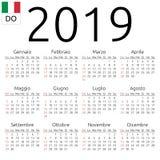 Calendar 2019, Italian, Sunday. Simple annual 2019 year wall calendar. Italian language. Week starts on Sunday. Sunday highlighted. No holidays highlighted. EPS Royalty Free Stock Images