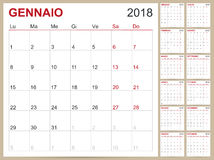 Calendar 2018. Italian calendar template for year 2018, set of 12 months, week starts on Monday, printable calendar templates Stock Photos