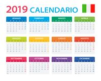 Calendar 2019 - Italian Version stock illustration