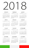 Calendar 2018 - Italian Version. Calendar 2018 year - Italian Version Stock Photography