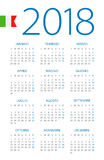 Calendar 2018 - Italian Version. Calendar 2018 year - Italian Version Royalty Free Stock Photos
