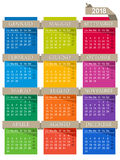 Calendar 2018. Italian calendar for year 2018, week starts on Monday, colorful calendar on white background Royalty Free Stock Images