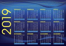 2019 calendar for italy, night mood colour and style stock illustration
