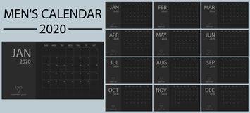 Minimalistic and clean, simple and stylish new year men`s calendar 2020 vector. Black and shades of gray. Event and holiday planne royalty free illustration