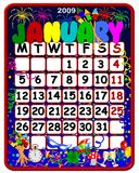 Calendar january 2009. Funny calendar january 2009 with symbols Royalty Free Stock Images