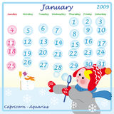 calendar january 2009 Stock Photography