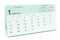 Calendar of January 2018 background. Calendar of January 2018 isolated on gray background, Pattern backgrounds Stock Photography