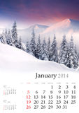 2014 Calendar. January. Beautiful winter landscape in the mountains royalty free stock photography