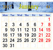 Calendar for January 2017 with birch grove Stock Images