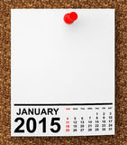Calendar January 2015. On blank note paper with free space for your text royalty free illustration