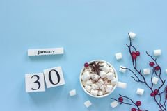 Calendar January 30 Cup of cocoa, marshmallows and branch berries. Winter composition. White wooden calendar cubes. Data January 30. Cup of cocoa, marshmallows royalty free stock images