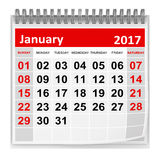 Calendar - January 2017. This is a 3d rendered computer generated image. Isolated on white royalty free illustration