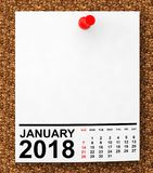 Calendar January 2018. 3d Rendering. Calendar January 2018 on blank note paper with free space for your text.3d Rendering Stock Image
