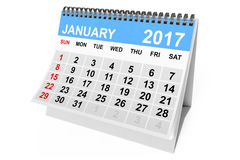 Calendar January 2017. 3d Rendering. 2017 year calendar. January calendar on a white background. 3d Rendering Royalty Free Stock Photos