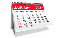 Calendar January 2017. 3d rendering. 2017 year calendar. January calendar on a white background. 3d rendering Royalty Free Stock Photography
