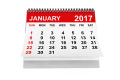 Calendar January 2017. 3d rendering. 2017 year calendar. January calendar on a white background. 3d rendering Royalty Free Stock Images