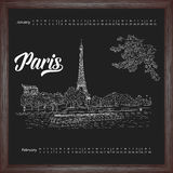Calendar 2017 january, february with city sketching Paris, France on chalkboard background. Vector illustration for your design royalty free illustration