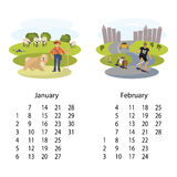 Calendar 2018 January February. Calendar 2018 for January and February with cute set of dog and owner illustration in cartoon style. Isolated vector illustration Royalty Free Stock Photos
