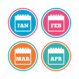 Calendar. January, February, March and April. Calendar icons. January, February, March and April month symbols. Date or event reminder sign. Colored circle Stock Photos