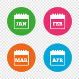 Calendar. January, February, March and April. Calendar icons. January, February, March and April month symbols. Date or event reminder sign. Round buttons on Royalty Free Stock Photos