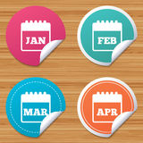 Calendar. January, February, March and April. Round stickers or website banners. Calendar icons. January, February, March and April month symbols. Date or event Royalty Free Stock Photo