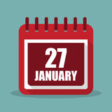 Calendar with 27 january in a flat design. Vector illustration. Calendar  with 27 january in a flat design. Vector illustration Royalty Free Stock Images
