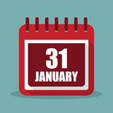 Calendar with 31 january in a flat design. Vector illustration. Calendar  with 31 january in a flat design. Vector illustration Royalty Free Stock Image
