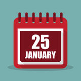 Calendar with 25 january in a flat design. Vector illustration Stock Photography