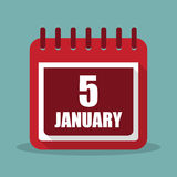 Calendar with 5 january in a flat design. Vector illustration. Calendar  with 5 january in a flat design. Vector illustration Royalty Free Stock Photos