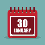 Calendar with 30 january in a flat design. Vector illustration. Calendar  with 30 january in a flat design. Vector illustration Stock Photography
