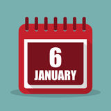 Calendar with 6 january in a flat design. Vector illustration. Calendar  with 6 january in a flat design. Vector illustration Royalty Free Stock Images