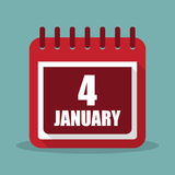Calendar with 4 january in a flat design. Vector illustration. Calendar  with 4 january in a flat design. Vector illustration Royalty Free Stock Image