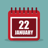 Calendar with 22 january in a flat design. Vector illustration. Calendar  with 22 january in a flat design. Vector illustration Stock Images