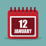 Calendar with 12 january in a flat design. Vector illustration. Calendar  with 12 january in a flat design. Vector illustration Royalty Free Stock Photos