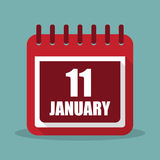 Calendar with 11 january in a flat design. Vector illustration. Calendar  with 11 january in a flat design. Vector illustration Royalty Free Stock Image