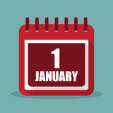 Calendar with 1 january in a flat design. Vector illustration. Calendar  with 1 january in a flat design. Vector illustration Royalty Free Stock Images