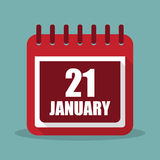 Calendar with 21 january in a flat design. Vector illustration. Calendar  with 21 january in a flat design. Vector illustration Royalty Free Stock Photo