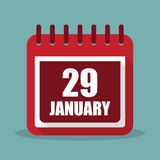Calendar with 29 january in a flat design. Vector illustration. Calendar  with 29 january in a flat design. Vector illustration Royalty Free Stock Photo
